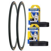 Michelin Dynamic Classic Clincher Road Tyre Twin Pack with 2 Free Tubes - Black 700c x 25mm