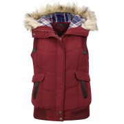 Arctic Story Women's Fur Trim Gilet - Wine