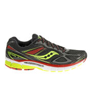 Saucony Men's Guide 7 Guidance Running Shoes (Medium Width) - Black/Citron/Red