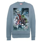 Marvel Avengers Assemble Team Montage Men's Sweatshirt - Indigo Blue