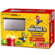 Nintendo 3DS XL Silver and Black Console - Includes New Super Mario Bros 2