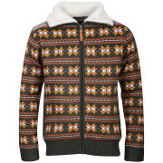Brave Soul Men's Carlyleb Fairisle Zip Through Jumper - Moss