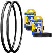 Michelin Dynamic Sport Clincher Road Tyre Twin Pack with 2 Free Tubes - Black 700c x 25mm