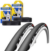 Michelin Dynamic Sport Clincher Road Tyre Twin Pack with 2 Free Inner Tubes - Blue 700c x 23mm