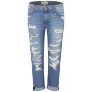 Current/Elliott Women's Fling Mid Rise Boyfriend Jeans - Tattered Destroy - 26 W26 Tattered Destroy