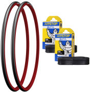 Michelin Dynamic Sport Clincher Road Tyre Twin Pack with 2 Free Tubes - Red 700c x 23mm