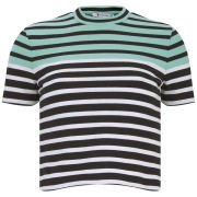 T by Alexander Wang Women's Stretch Cotton Engineer Striped T-Shirt - Seafoam