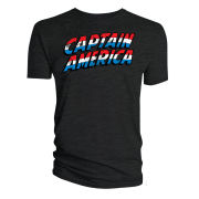 Captain America Text Logo T-Shirt - Black