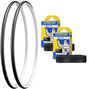 Michelin Dynamic Sport Clincher Road Tyre Twin Pack with 2 Free Inner Tubes - White 700c x 23mm