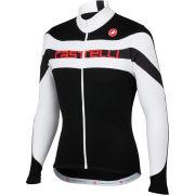 Castelli Giro Long Sleeve Full Zip Jersey - Black/White/Red Text