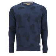 Jack & Jones Men's Palm Sweat Long Sleeve All Over Printed - Dress Blue