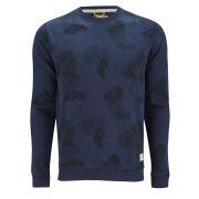 Jack & Jones Men's Palm Sweat Long Sleeve All Over Printed - Dress Blue