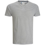 Boxfresh Men's Labret Skinny Stripe Tee - White/Black Pinstripe