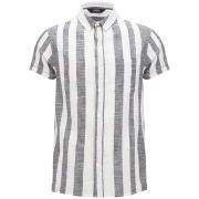 NEUW Men's Sharp Short Sleeved Shirt - Black Stripe
