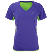 RonHill Women's Aspiration Short Sleeve T-Shirt - Plum/Fluorescent Green