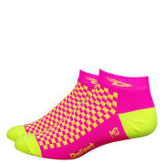 DeFeet Speede Hi Vis Socks - Pink/Yellow
