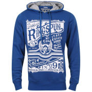 Ringspun Men's Tipsy Printed Graphic Hoody - Royal Blue/Grey Marl