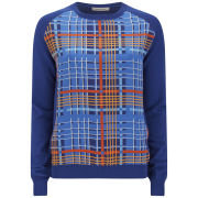 Emma Cook Women's Silk Front Knit Jumper - Blue/Orange Check