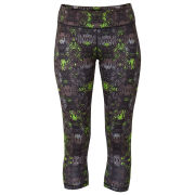 Lija Women's Dash Run Printed Capri Pants - Black/Multi