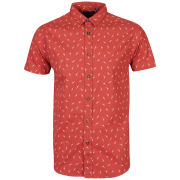 Brave Soul Men's Tyson Printed Short Sleeve Shirt - Light Red