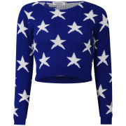 Women's American Star Crop Knit Jumper - Cobalt Blue/White
