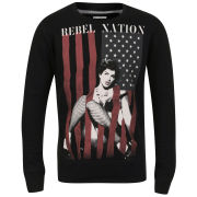 Ringspun Men's Rebel Flag Photo Print Crew Neck Sweat - Black