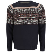 Soul Star Men's Venzy Fairisle Knit Jumper - Navy