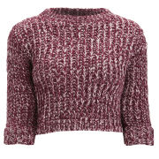 Girls On Film Women's Chunky Knit Jumper - Burgundy