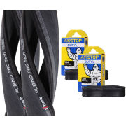 Vittoria Rubino Pro Tech Clincher Road Tyre Twin Pack with 2 Free Inner Tubes - Black/Grey 700c x 23mm
