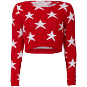 Women's American Star Crop Knit Jumper - Red/White
