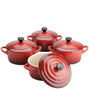 Le Creuset Set of 4 Cerise Mini Casserole Dishes