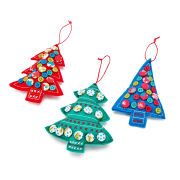 Gisela Graham Fabric Tree with Buttons Decoration (12cm)