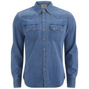 Levi's Men's Long Sleeve Slim Fit Sawtooth Western Shirt - Mid Indigo Fog
