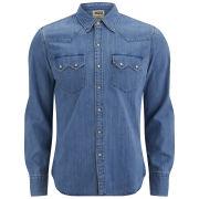 Levi's Men's Long Sleeve Slim Fit Sawtooth Western Shirt - Mid Indigo Fog