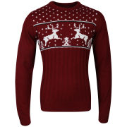 Christmas Branding Reindeer Knitted Jumper - Red