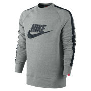 Nike Men's AW 77 Tape Logo Crew Neck Sweater - Grey