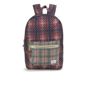 Herschel Settlement Front Zip Pocket Backpack - Rust Plaid Polka Dot/Grey Plaid