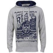 Ringspun Men's Tipsy Printed Graphic Hoody - Grey Marl/Navy