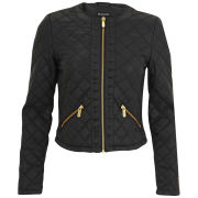 Brave Soul Women's Elise Quilted Stud Jacket - Black