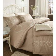 Catherine Lansfield Decorative Hearts Bedding Set - Champagne