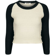 Moku Women's Raglan Sleeve Colour Block Knit Jumper - Black/White