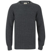 Brave Soul Men's Konstantig Knitted Elbow Patch Jumper - Charcoal Marl