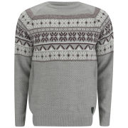 Soul Star Men's Venzy Fairisle Knit Jumper - Light Grey Marl
