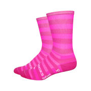 DeFeet Aireator 6 Inch Socks - Sako 7 Pink Stripes