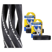 Michelin Pro 4 Comp Clincher Road Tyre Twin Pack with 2 Free Tubes - Black 700c x 23mm