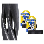 Michelin Pro 4 Endurance Clincher Road Tyre Twin Pack with 2 Free Inner Tubes - Grey 700c x 25mm