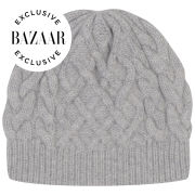 Johnstons of Elgin Exclusive to Harper's Bazaar Cable Knit Cashmere Beanie Hat - Silver/Grey