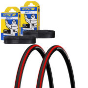 Michelin Pro 4 Endurance Clincher Road Tyre Twin Pack with 2 Free Tubes - Red 700c x 23mm