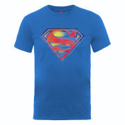 DC Comics Men's T-Shirt - Superman Stencil Logo - Royal Blue