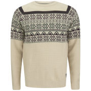 Soul Star Men's Venzy Fairisle Knit Jumper - Sand